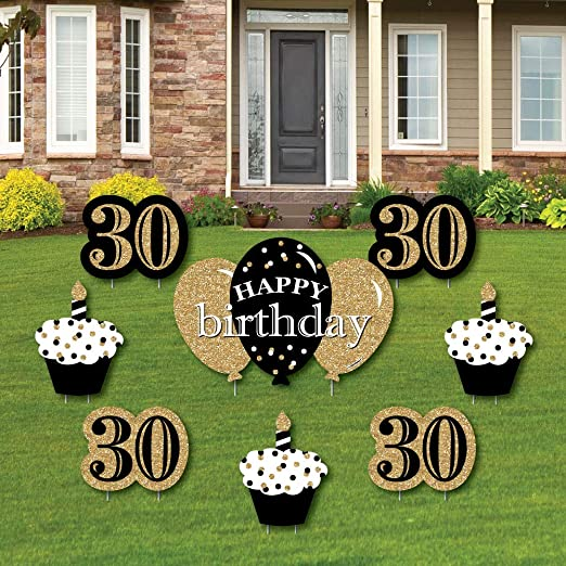 Big Dot of Happiness Adulto 30 cumpleaños - Oro - Letrero de ...