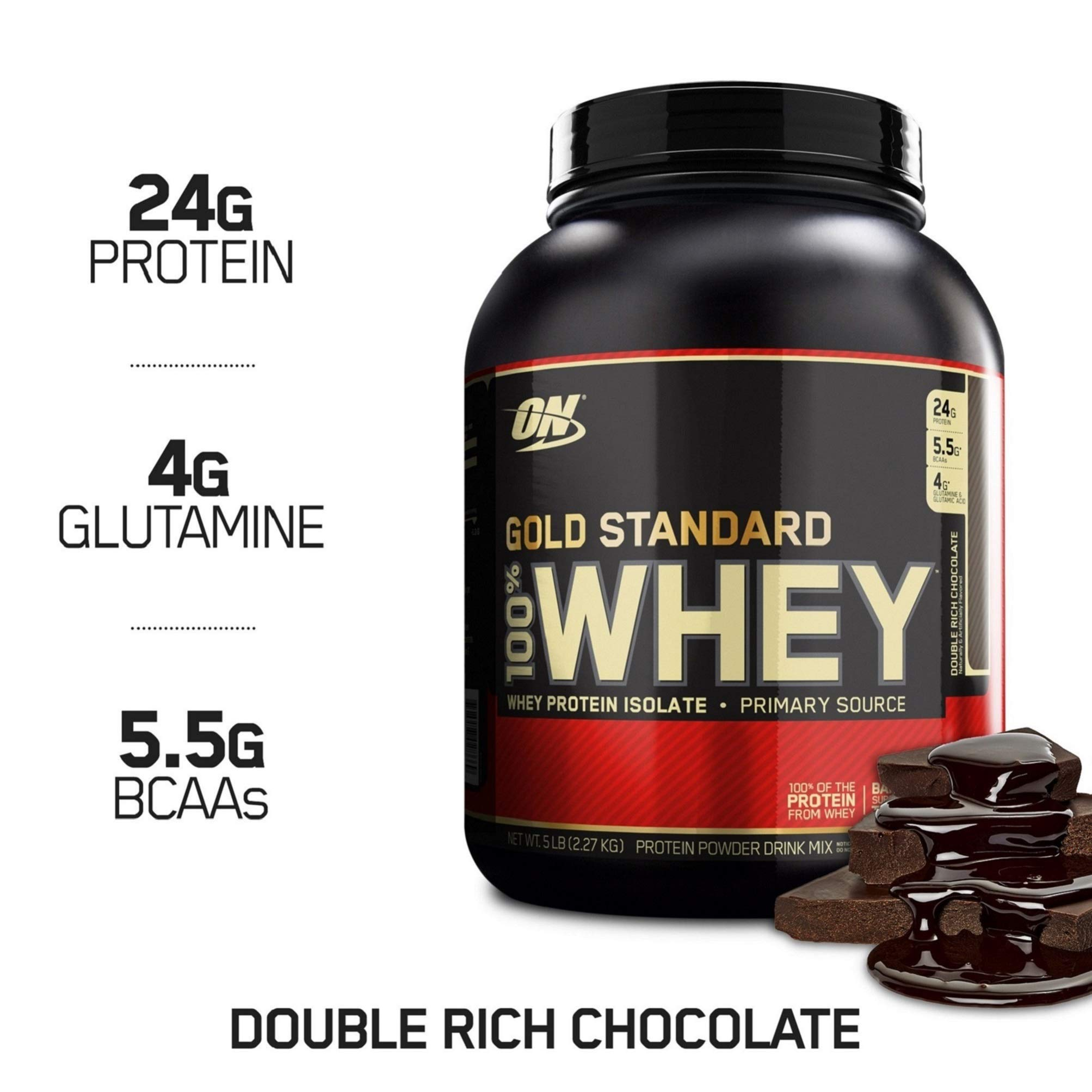 OPTIMUM NUTRITION GOLD STANDARD 100% Whey Protein Powder, Double Rich Chocolate, 2.27 kg, Packaging may Vary product image