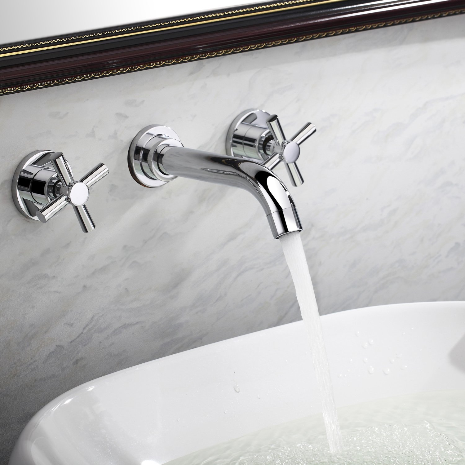 Lightinthebox Contemporary Widespread Bathroom Sink Faucet Wall Mount Two Handles Bathroom Bathtub Mixer Taps Bath Tub Faucets Long Curve Spout Bar Faucets Two Handles Wall Mount Bath Shower Faucets Lavatory Plumbing Fixtures by LightInTheBox