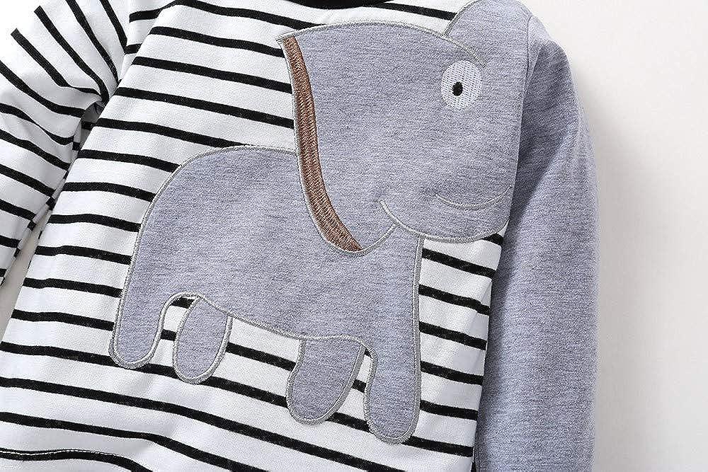 Fuibo Baby Halloween Kleidung Neugeborenes Baby Jungen M/ädchen Elefant Striped Print T-Shirt Tops Set Casaul Kleidung Weihnachten