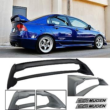 For 2006-2011 Honda Civic 4Dr Sedan Black Mug Style ABS Trunk Spoiler Wing