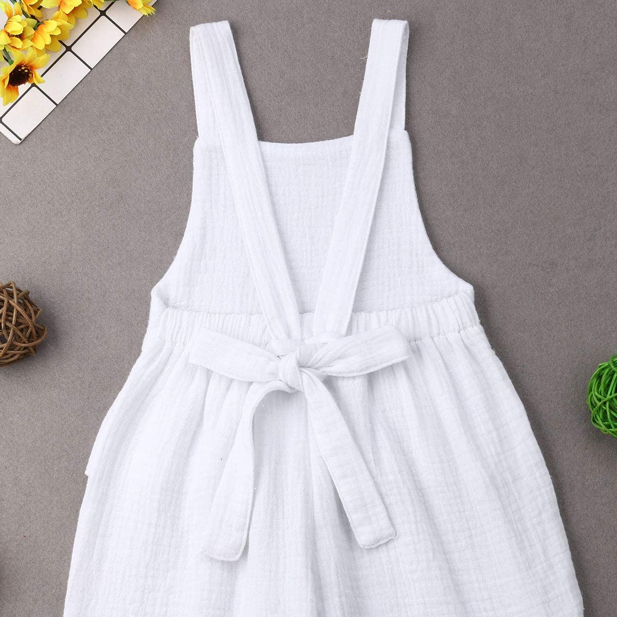 Mubineo Toddler Baby Girl Basic Plain Ruffle Wide Leg Overalls Romper Jumpsuit Colthes