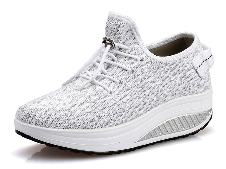 Ezkrwxn Fashion Sneakers for Women Platform Shoes Mesh Breathable Comfort Walking Shoes (1618-3 White 40)