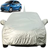 Autofact Car Body Cover for Honda Amaze (2011 to 2017) with Mirror and Antenna Pocket (Light Weight, Triple Stitched, Heavy Buckle, Bottom Fully Elastic, Silver Matty)