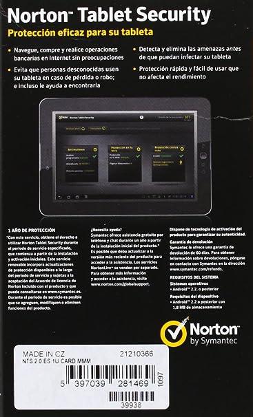 Symantec Norton Tablet Security 2.0, 1U, Win, ESP - Seguridad y antivirus (1U, Win, ESP, ESP, PC, Android 2.1 or later Windows XP (SP2) or later): ...