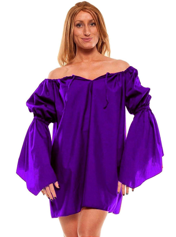 Faire Lady Renaissance Costume Short Purple Chemise - DeluxeAdultCostumes.com