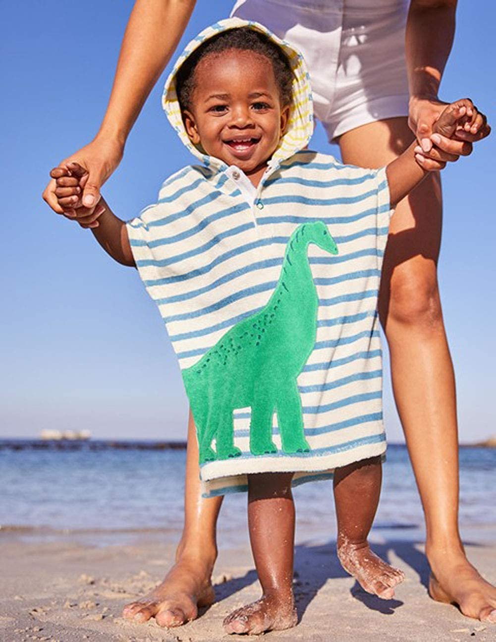 Carolilly Asciugamano da Mare Bambino Neonato con Cappuccio in Cotone Accappatoio Neonato Poncho Dinosauro