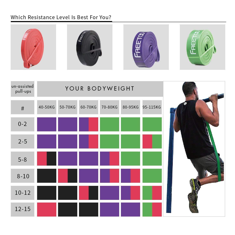 FREETOO Fitnessb/änder Premium Resistance Band Professionelle Widerstandsb/änder als K/örperformungshilfe und Unterst/ützung f/ür Klimmzughilfe mit /Übungsanleitung