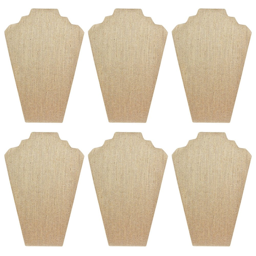 Mooca 6 Pieces Linen Cover MDF Wood with Sturdy Cardboard Easel Necklace Display 8 1/4''W x 12 1/2''H