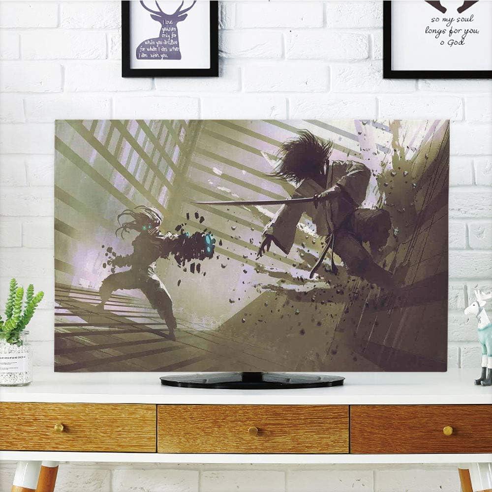 Funda para televisor LCD, decoración de música Jazz, Cartel Colorido con Varios percompatibles, ilustración de Siluetas en Arte Bohemio Retro, Personalizable, 47