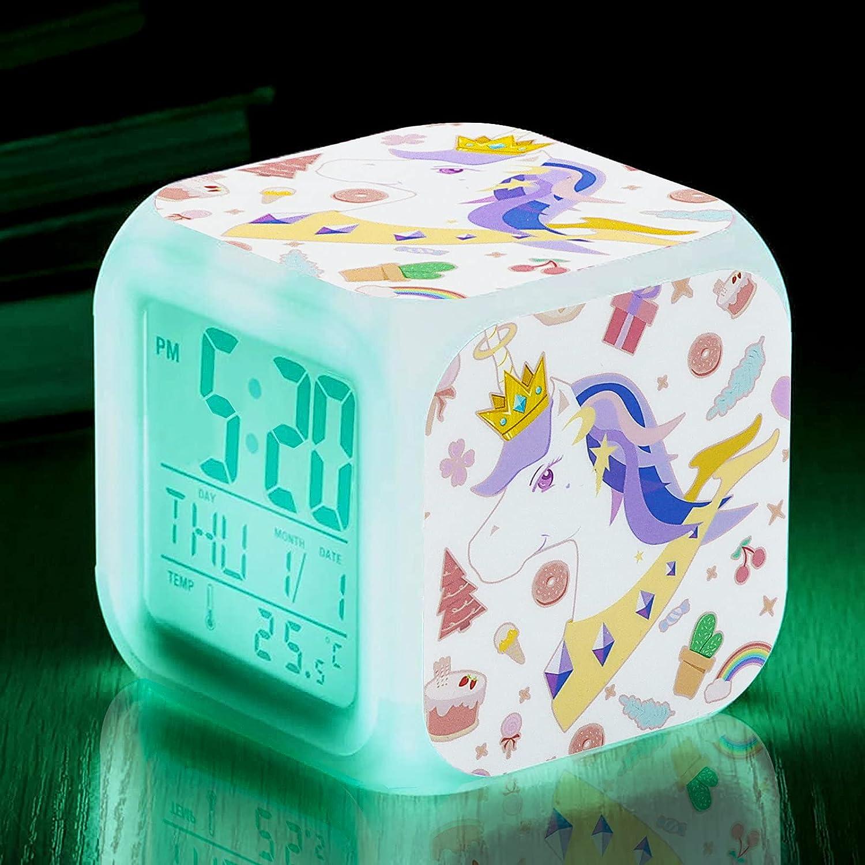 Unicorn Alarm Clocks for Girls,Kids Digital Alarm Clocks Night Light with 4 Sided Unicorn Pattern&7 Kinds of LED Glowing Wake Up Bedside Clock Gifts for Unicorn Room Decor for Girls Bedroom(White)
