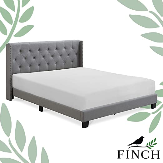 Amazon Com Finch Adler Upholstered Platform Bed With Diamond Stitched Wingback Headboard Wood Frame Slats Support With Easy Assembly King Size Grey Kitchen Dining