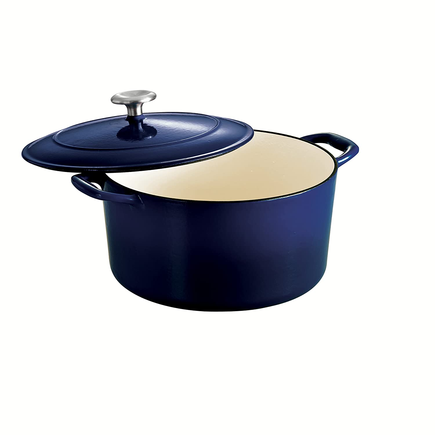 Tramontina 80131/076DS Enameled Cast Iron Covered Round Dutch Oven, 6.5-Quart, Gradated Cobalt