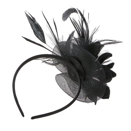 online zu verkaufen neues Design detaillierte Bilder Hochzeit Damen Feder Fascinator Haarreif Blume Schleier Hut Kopfband  Haar-Accessoires
