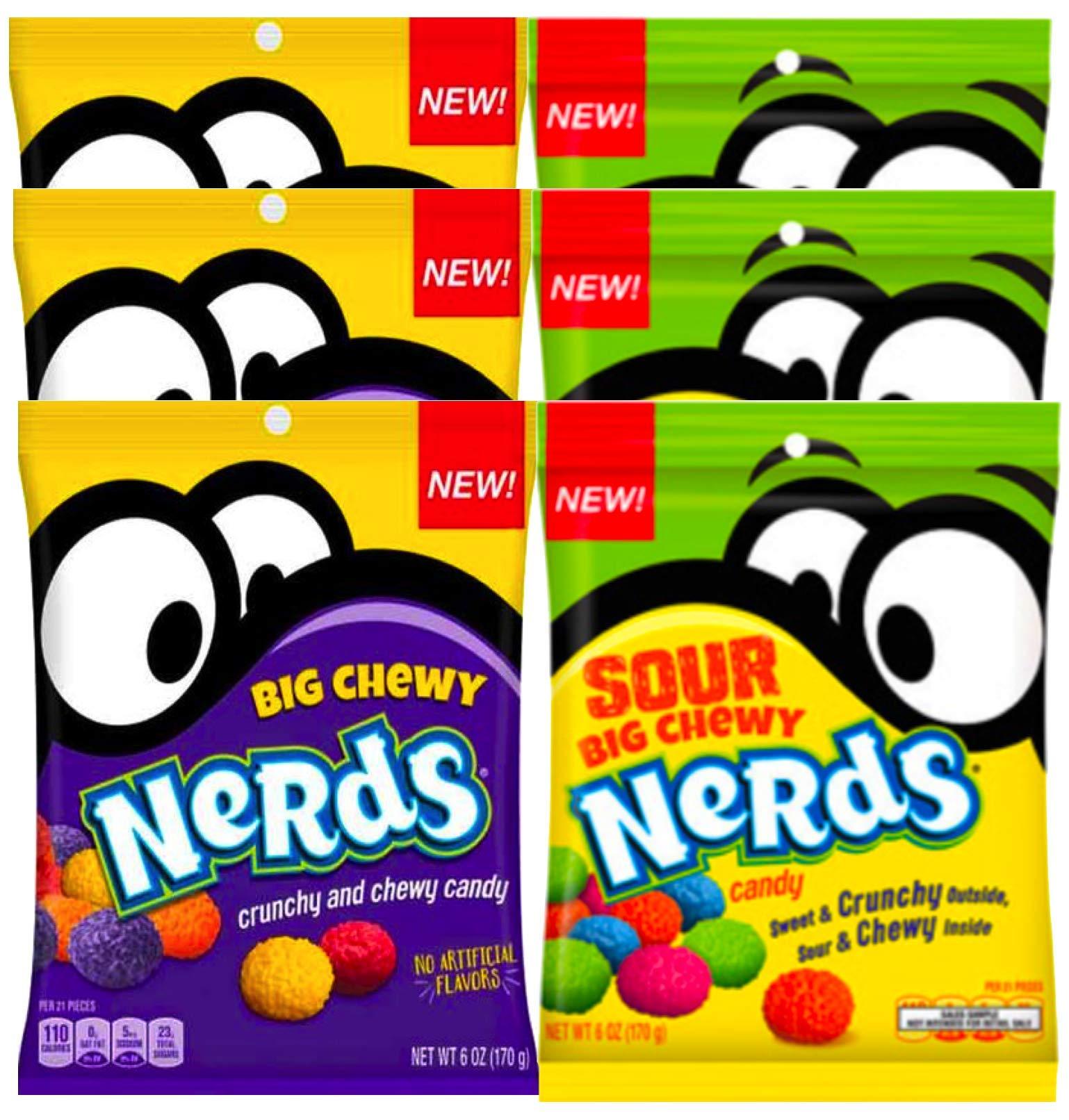 NEW Nerds Big Chewy Nerds Sour & Crunchy No Artificial Flavors Net WT 6oz (6)