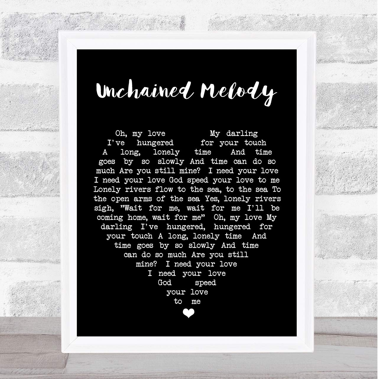 Amazon Unchained Melody Black Heart Wall Art Quote Song Lyric