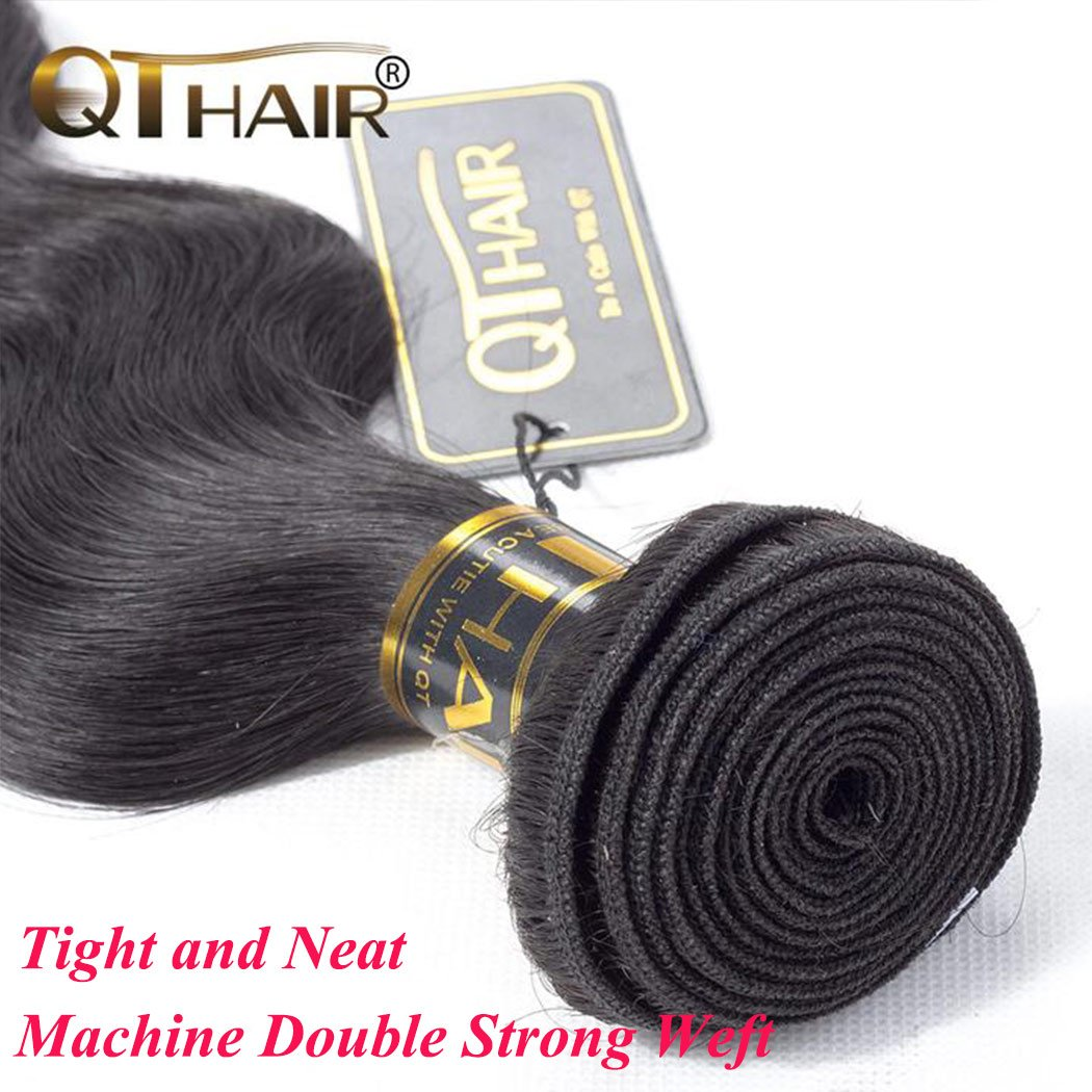 QTHAIR 10a Brazilian Virgin Hair Body Wave 4 bundles 20 22 24 26 inches 400g Unprocessed Brazilian Body Wave Human Hair Weave for Black Women Natural Color Tangle Free by QTHAIR (Image #4)