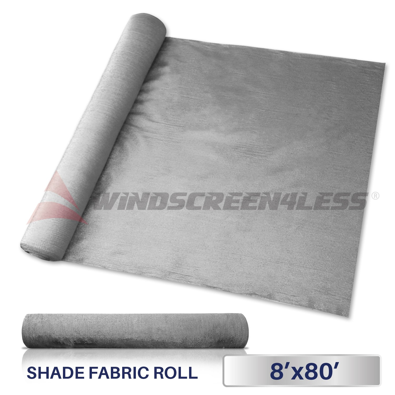 Windscreen4less Light Grey Sunblock Shade Cloth,95% UV Block Shade Fabric Roll 8ft x 80ft