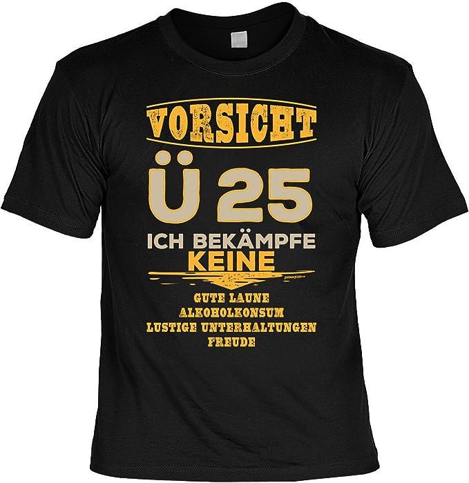 Vorsicht U25 Zum 25 Geburtstag Geschenkidee Aufdruck Herren Shirt Geburtstagsgeschenk Zum 25 Geb Lustiges Spruche T Shirt In Schwarz Amazon De Bekleidung