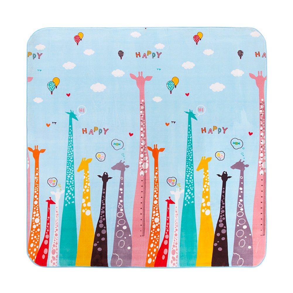MeMoreCool Colorful Giraffe Cartoon Area Rugs Anti-slip Kids Bedroom Carpet Thicken Baby Crawling Mats Machine Washable Rugs 59 X 77 Inch