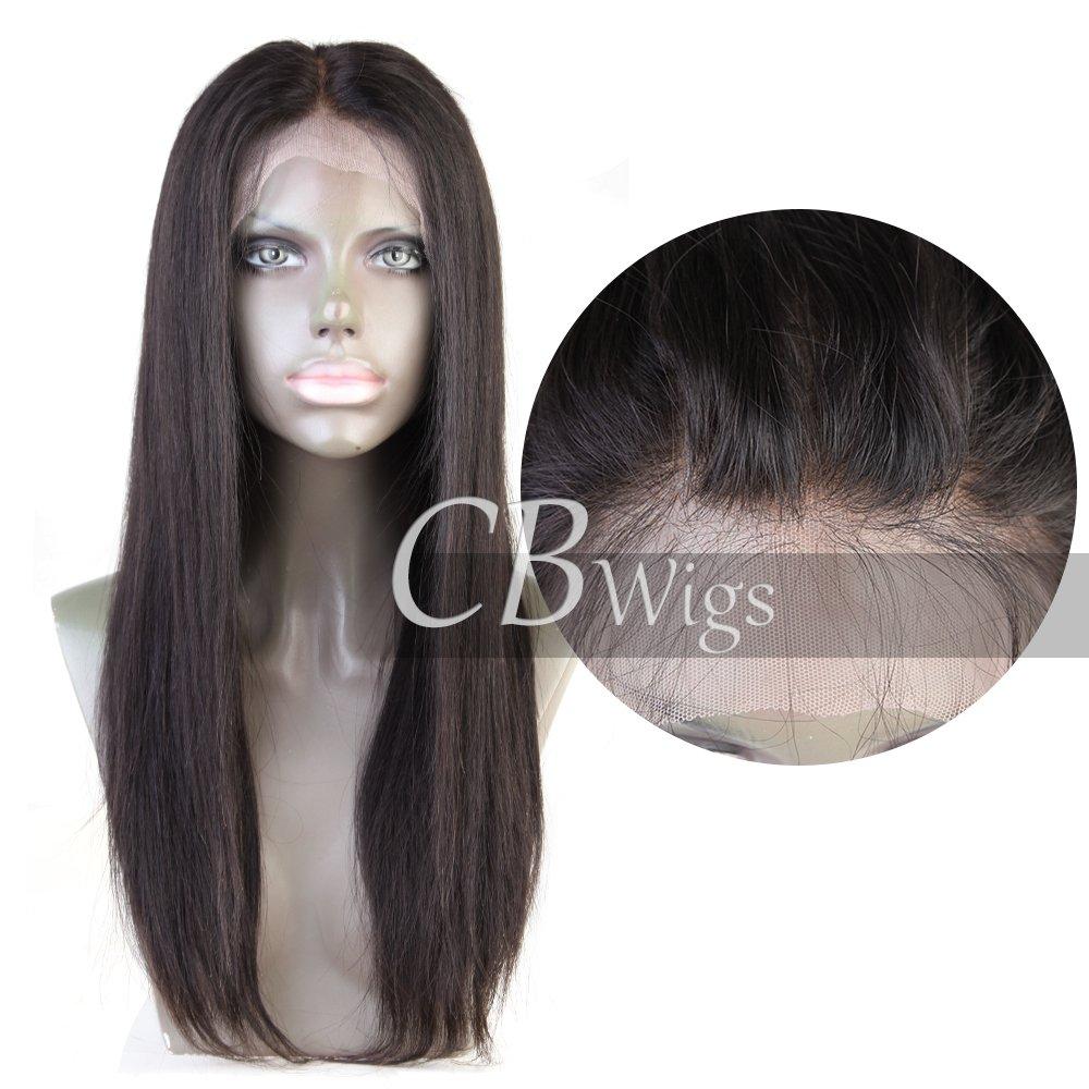 Glueless Lace Front Wig - Dentelle 360 ° - Cheveux naturels brésiliens Remy peut être teint - Très haute densité - Cheveux humains non transformés - Apparence naturelle - Noeuds légèrement blanchis - Délié naturellement plissé - Avec des cheveux de bébé -