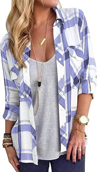 YOINS Camiseta Elegante para Mujer Blusa de Primavera de Manga Larga Sexy Tops Cruz de Seda con Cuello en V Color sólido