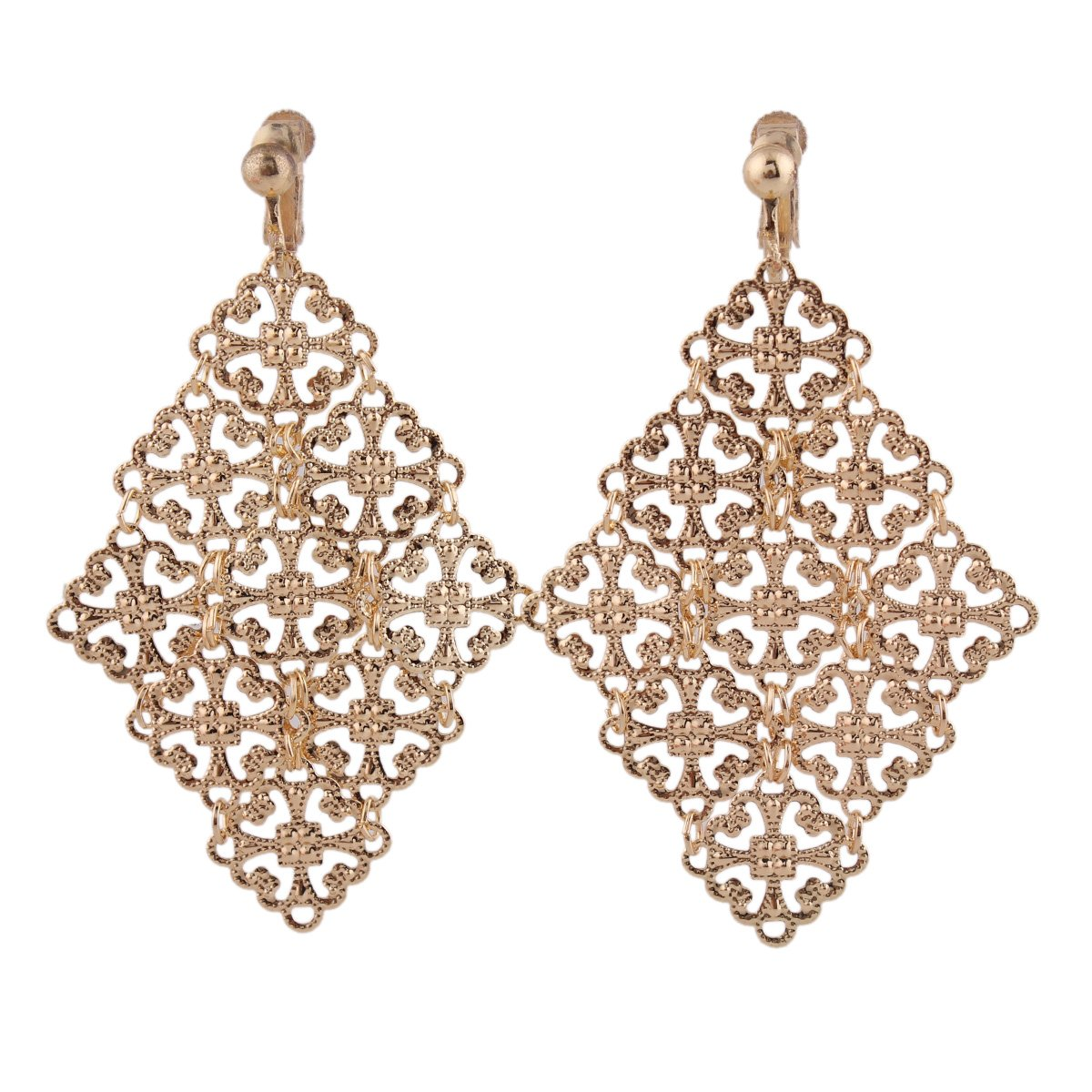 Handmade Gold Color Hollow-out Pattern Dangle Drop Earrings and Clip on Earrings No Pierced for Women (Clip-on)