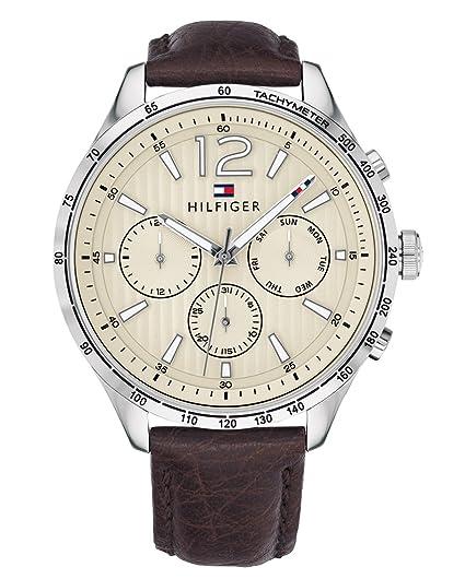 Tommy Hilfiger Reloj Multiesfera para Hombre de Cuarzo con Correa en Cuero 1791467: Amazon.es: Relojes