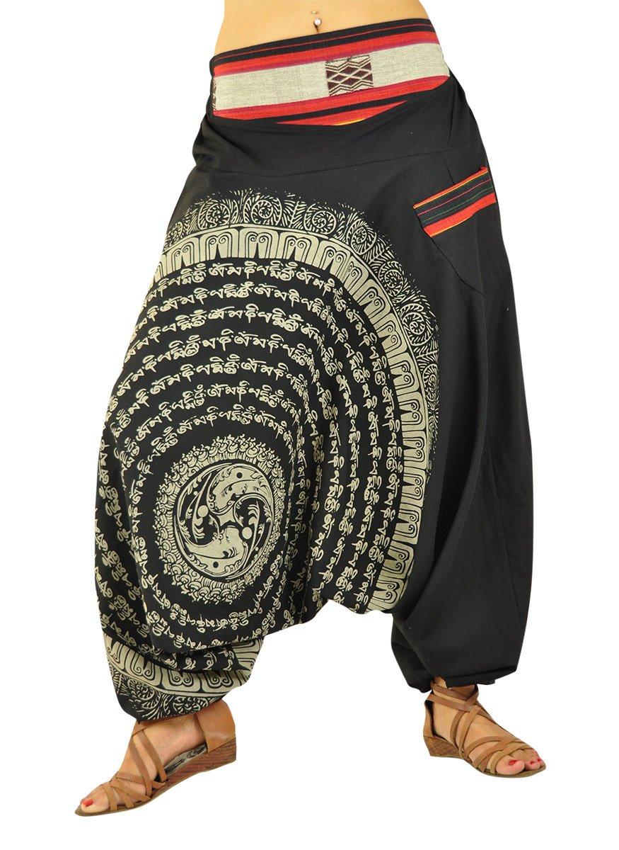 virblatt Womens Harem Pants Drop Crotch With Hand-Drawn Mandala - Nirvanab