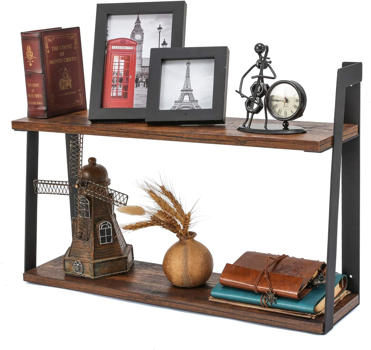 MaidMAX Floating Shelves, 2 Tier Rustic Shelf, Display Storage Ledge, Wall Mounted Shelf with Metal Brackets for Living Room, Bathroom, Bedroom, Kitchen, Wood Grain Finish