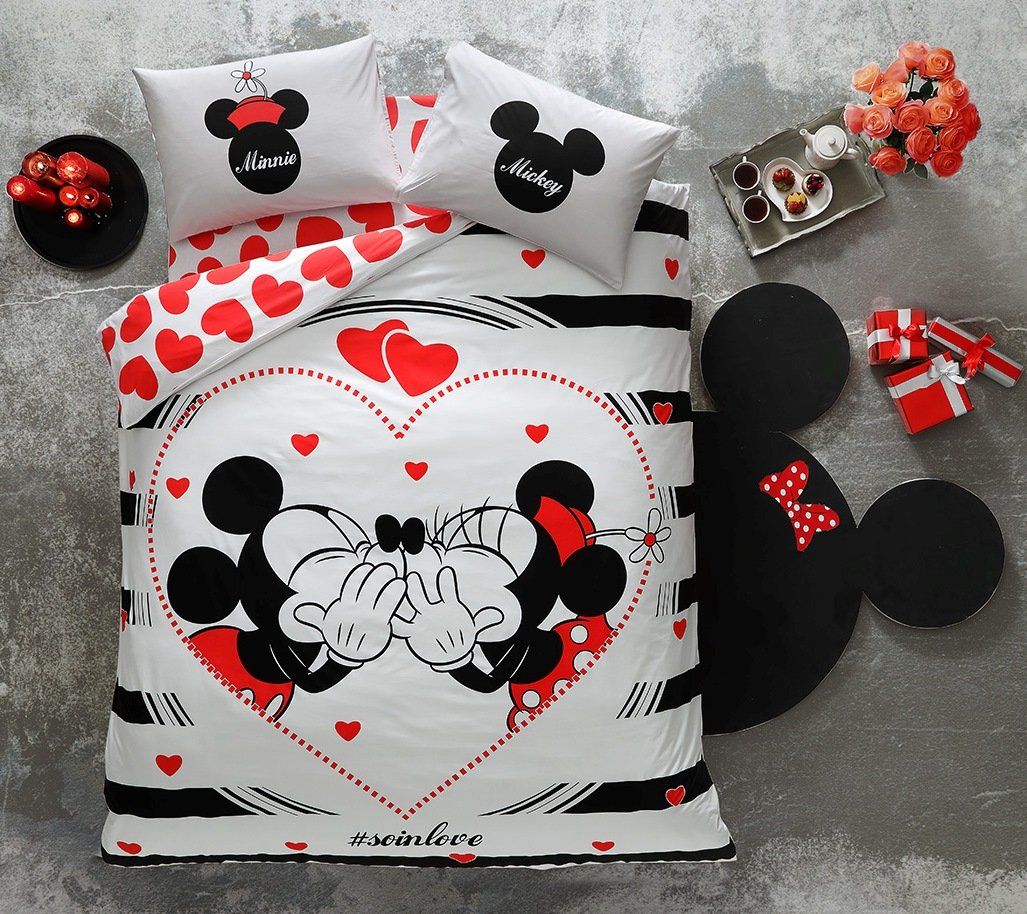 Disney Minnie & Mickey Valentine's Day AMOUR SO IN LOVE, Duvet Cover Set, 100% Cotton, Double Size, 4 Pieces