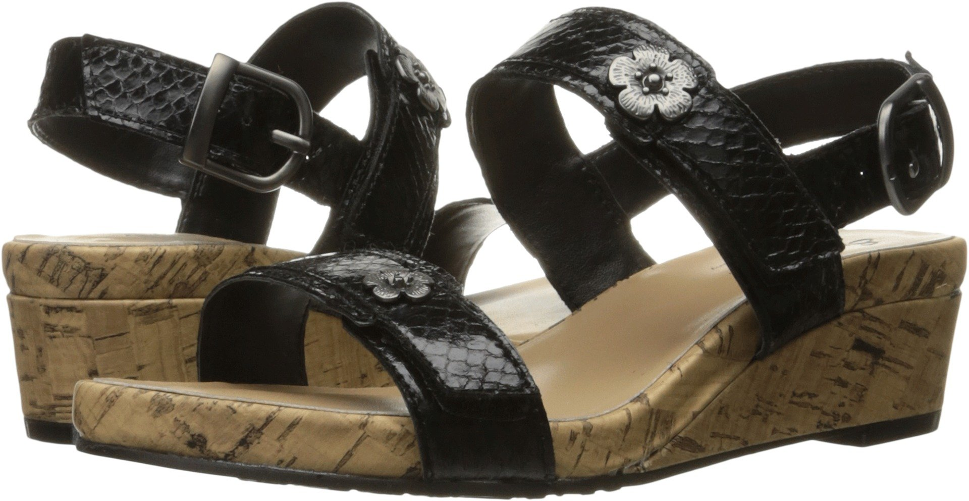 Soft Style by Hush Puppies Women's Ocean Wedge Sandal, Black Python, 6.5 W US by Soft Style