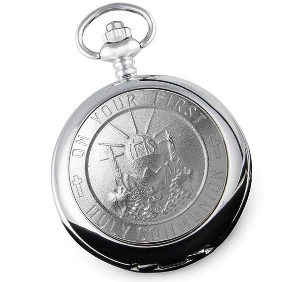 Reloj de bolsillo para primera comunión de niño, con caja de presentación