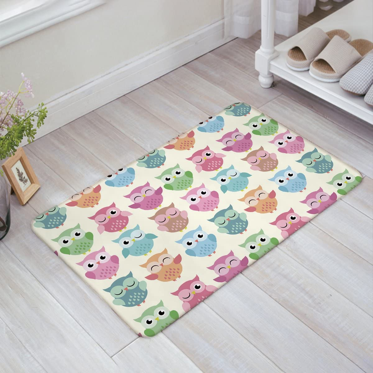 Cute Animals Colorful Owl Fabric Door Mat Rug Indoor Outdoor Front Door Shower Bathroom Doormat, Non-Slip Doormats, 18-Inch by 30-Inch