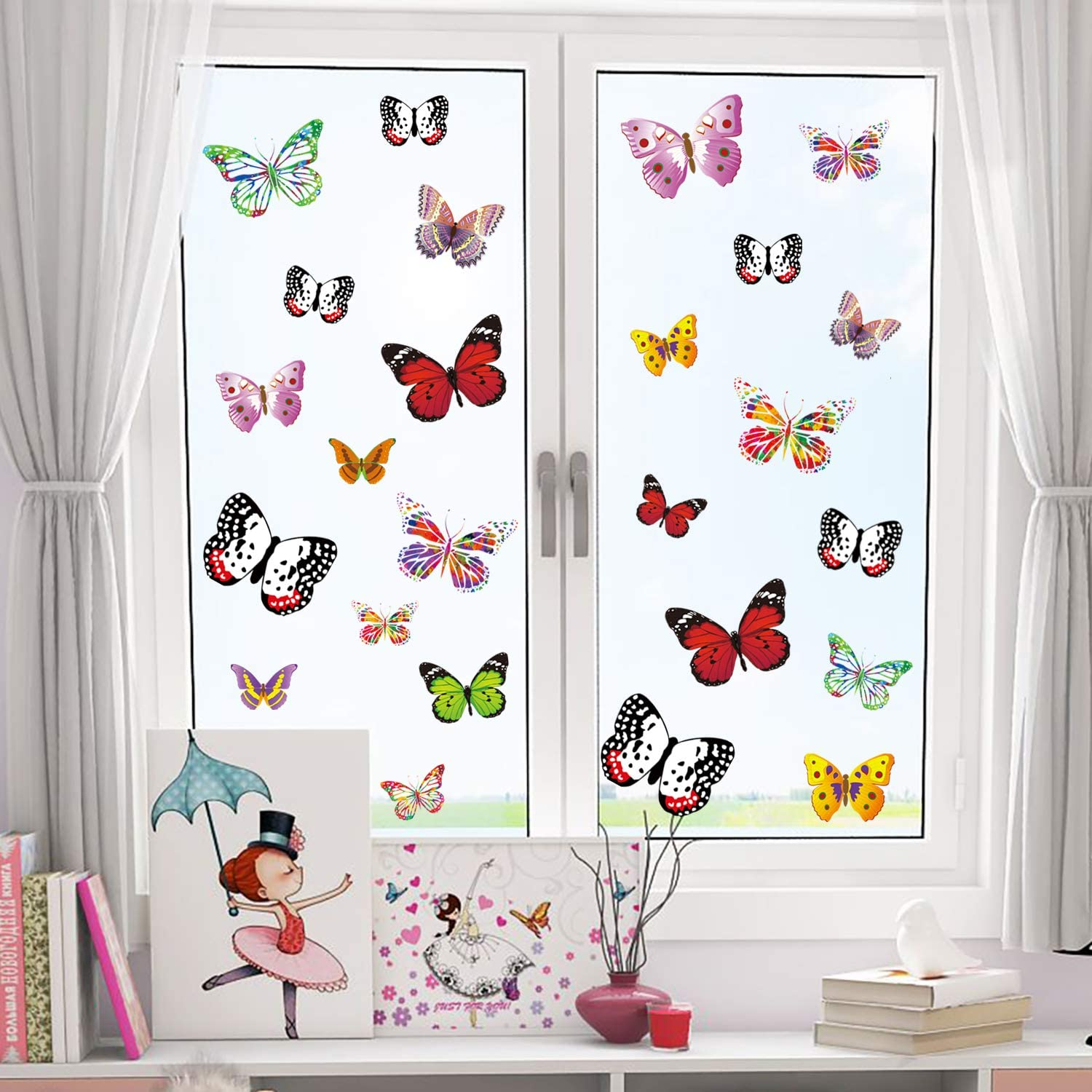 PARLAIM 28 PCS Colorful Butterfly Window Clings Anti-Collision Window Decals to Prevent Bird Strikes on Window Glass Non Adhesive Anti-Collision Window Stickers