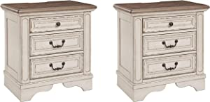 Signature Design by Ashley Realyn Nightstand, Chipped White (Pack of 2)
