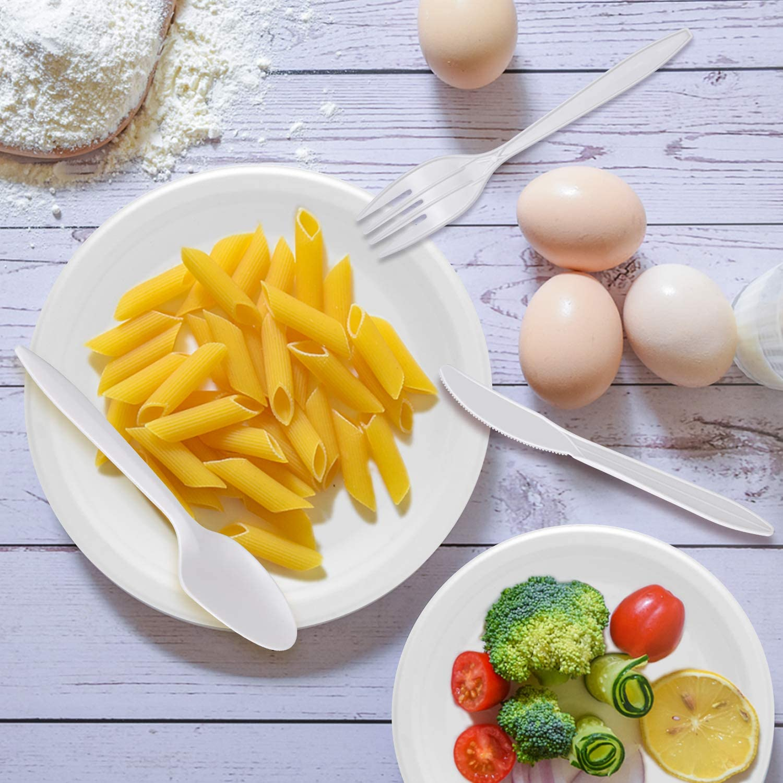 Lot de 25 vaisselle jetables biod/égradables respectueux de lenvironnement des fourchettes des serviettes des couteaux comprenant des assiettes