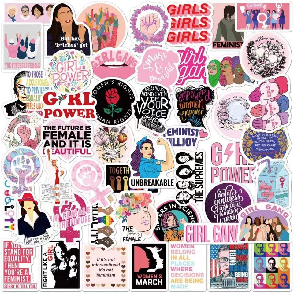 Feminist Stickers Pack Bulk| 50Pcs Girl Power Women's Rights Activism Waterproof PVC Vinyl Stickers for Laptop Helmet Hats Water Bottles Car Feminism Empowering Decal Stickers Gifts for Girls Women