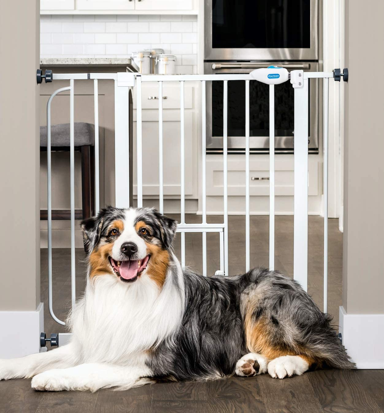 Carlson Extra Wide Walk Through Pet Gate with Small Pet Door, Includes 4-Inch Extension Kit, Pressure Mount Kit and Wall Mount Kit : Indoor Safety Gates : Pet Supplies