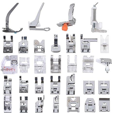 Kit profesional de 32 piezas de pies prensores para máquinas de coser domésticas. Para máquinas
