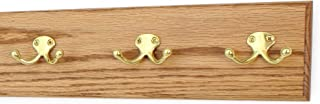 """product image for Oak Wall Mounted Coat Rack with Solid Brass Dual Style Hooks 4.5"""" Ultra Wide (Golden Oak, 15"""" x 4.5"""" with 3 Hooks)"""