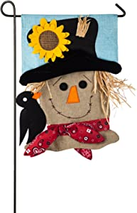 Evergreen Scarecrow Season Burlap Garden Flag, 12.5 x 18 inches