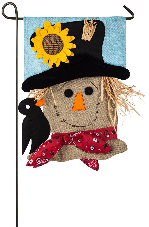 Evergreen Scarecrow Season Burlap Garden Flag, 12.5 x 18 inches