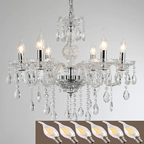 YYSHCHEN Crystal Glass Chandelier 6 Lights Clear Pendant Ceiling Lighting Classic Vintage Candle Chandelier