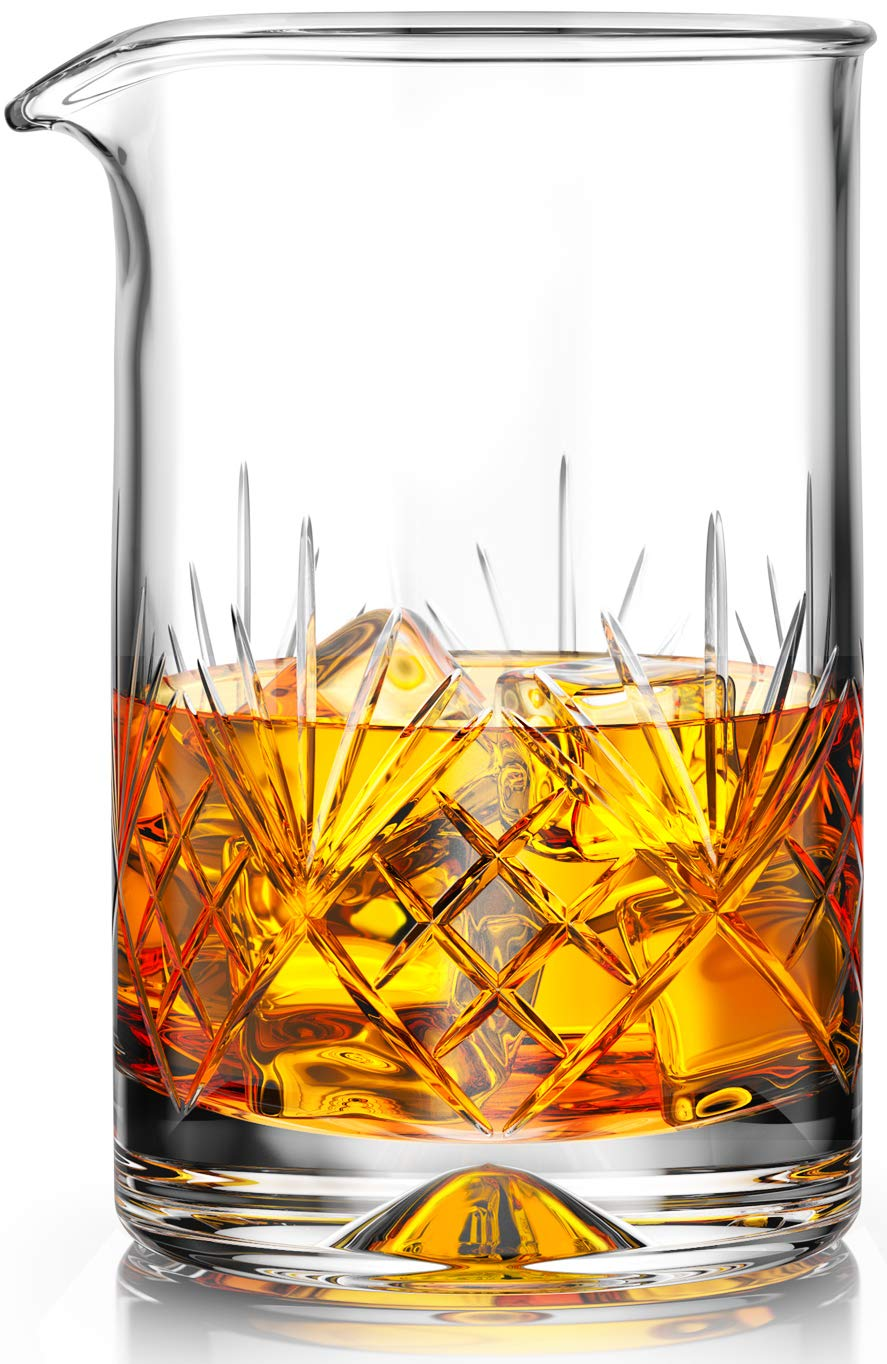 MOFADO Crystal Cocktail Mixing Glass - 24oz 710ml - Thick Weighted Bottom - Premium Seamless Design - Professional Quality