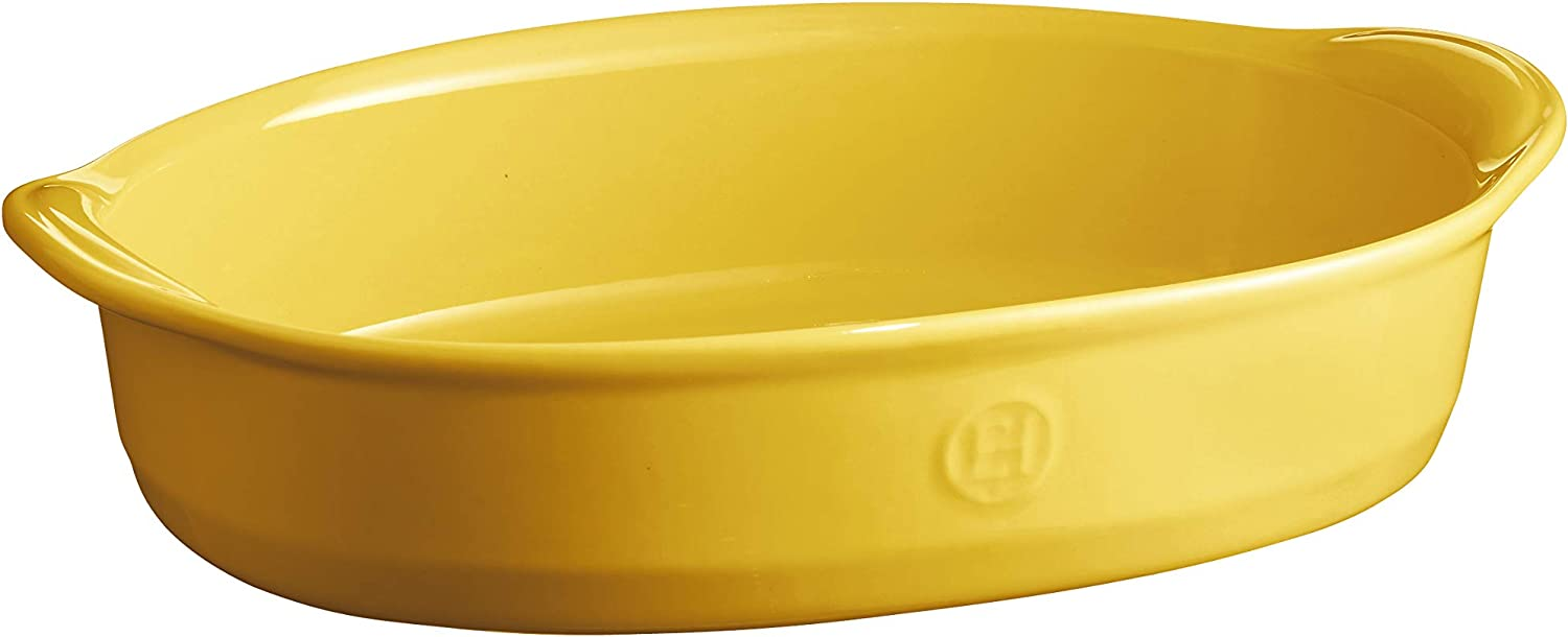 Emile Henry EH909052 Ultime Small Oven, Provence Yellow oval baking dish, 2.43 qt,