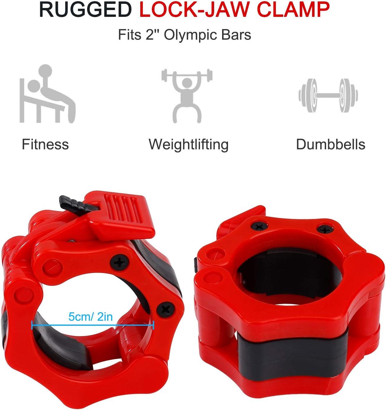 QIMEI-SHOP 50 mm Abrazaderas para Levantamiento de Pesas Olimpica 2 Bloqueadores para Barras de Pesas de Liberaci/óN R/áPida para Mancuernas Entrenamiento F/ísico