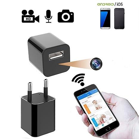 Cámara Oculta, Adaptador de CA WiFi Cámara de vigilancia de Seguridad WiFi con cámara niñera