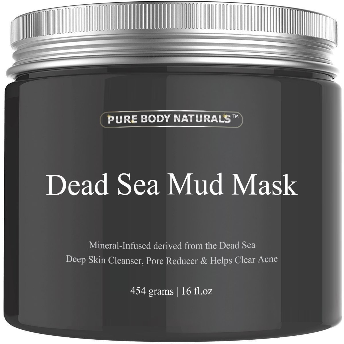 Dead Sea Mud Mask for Face and Body, Purifying Face Mask for Acne, Blackheads, and Oily Skin by Pure Body Naturals (Original, 16 Fl. Oz.)