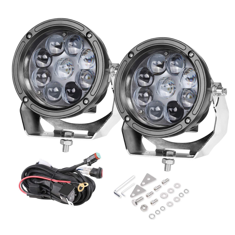 LED Pods, 5 inch AKD Part 90W CREE Round Offroad Lights LED Spot Lights with Wiring Harness Light Bar Pods Bumper Driving Lights Jeep 4x4 Work Lights Fog Lamp For Truck UTV ATV SUV Boat Lights (2 Pcs)